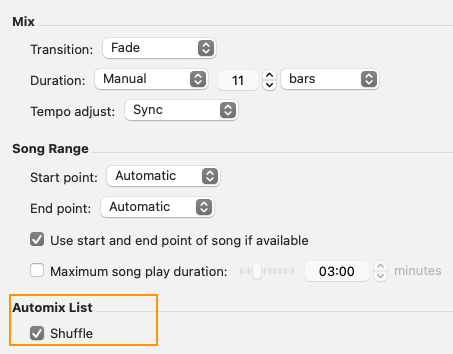 settings automix mac